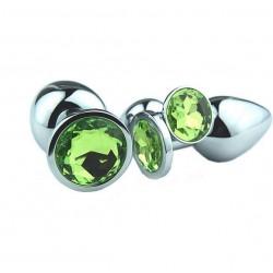 Korek analny medium z zielonym kryształem