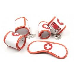 Zestaw do krępowania pielęgniarka - kajdanki i maska