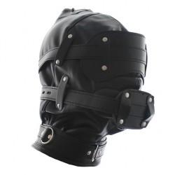 Skórzana zabudowana maska bdsm z kneblem dildo i opaską na oczy