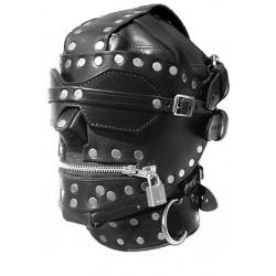 Czarna zabudowana maska sado maso z obrożą