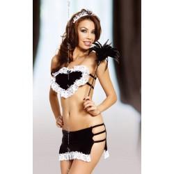 Seksowny czarno - biały kostium pokojówki