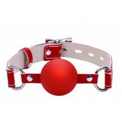 Klasyczny czerwony knebel typu kulka z zapięciem na kłódkę