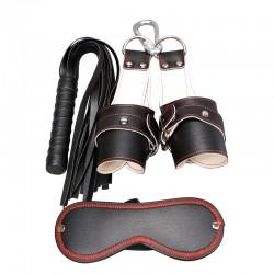 Zestaw BDSM - maska pejcz i kajdany do podwieszania