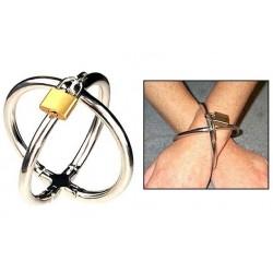 Stalowe kajdanki krzyżowe na ręce