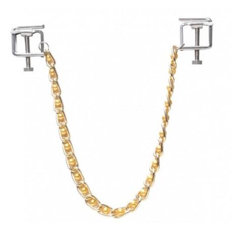 Zaciski na sutki ze złotym łańcuszkiem i złotymi perełkami
