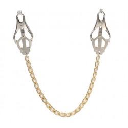 Klipsy na piersi ze złotym łańcuszkiem i perełkami