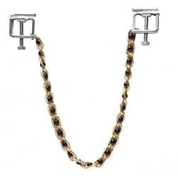 Zaciski na sutki ze złotym łańcuszkiem i czarnymi perełkami