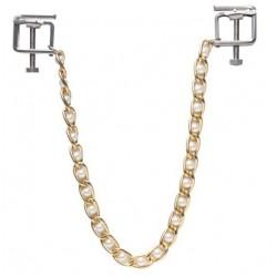 Zaciski na sutki ze złotym łańcuszkiem i perełkami