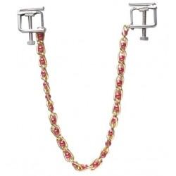 Kwadratowe zaciski na sutki ze złotym łańcuszkiem i perełkami