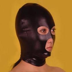 Czarna maska BDSM z otworem na oczy usta i nos